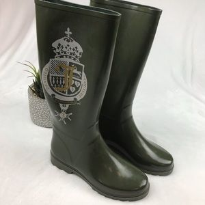 Juicy Couture Womens Rain Boots Sz 10 Olive Green